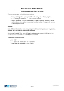 – April 2012 Maths Item of the Month