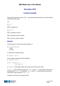 MEI Maths Item of the Month November 2013  A prime example