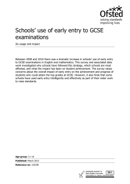 Schools' use of early entry to GCSE examinations