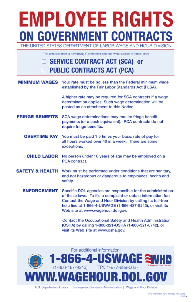 EMPLOYEE RIGHTS ON GOVERNMENT CONTRACTS SERVICE CONTRACT ACT