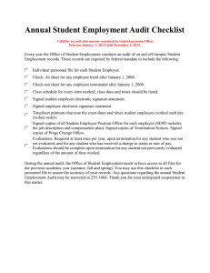 Annual Student Employment Audit Checklist
