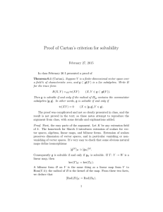 Proof of Cartan's criterion for solvability February 27, 2015