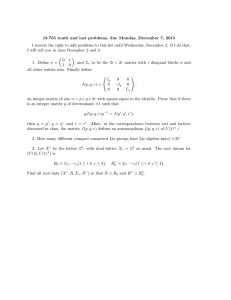 18.755 tenth and last problems, due Monday, December 7, 2015