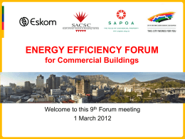 ENERGY EFFICIENCY FORUM  for Commercial Buildings Welcome to this 9