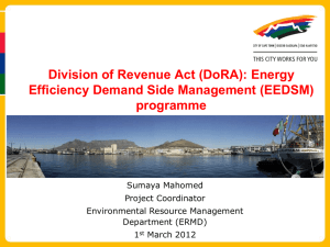 Division of Revenue Act (DoRA): Energy Efficiency Demand Side Management (EEDSM) programme