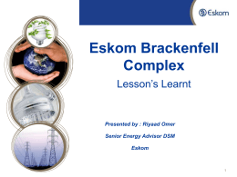 Eskom Brackenfell Complex  Lesson's Learnt
