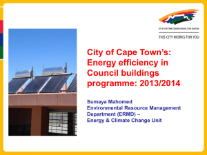 City of Cape Town's: Energy efficiency in Council buildings programme: 2013/2014
