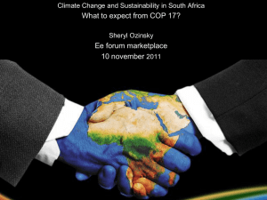 What to expect from COP 17? Ee forum marketplace 10 november