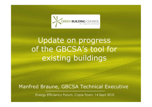 Update on progress of the GBCSA's tool for existing buildings