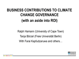 BUSINESS CONTRIBUTIONS TO CLIMATE CHANGE GOVERNANCE (with an aside into ROI)
