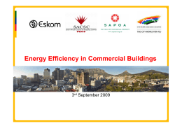 Energy Efficiency in Commercial Buildings 3 September 2009 rd