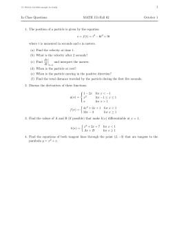 1 In Class Questions MATH 151-Fall 02 October 1