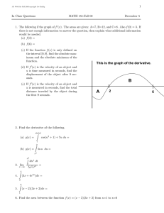 1 In Class Questions MATH 151-Fall 02 December 5
