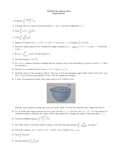 MATH 152, Spring 2014 Final Review Z (lnx)
