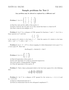 MATH 311–503/505 Fall 2015 Sample problems for Test 2