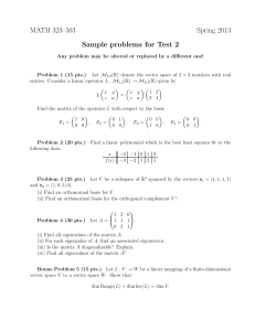 MATH 323–503 Spring 2013 Sample problems for Test 2