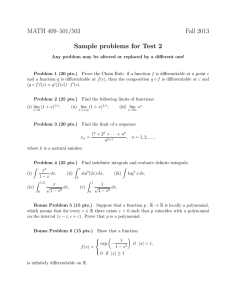 MATH 409–501/503 Fall 2013 Sample problems for Test 2
