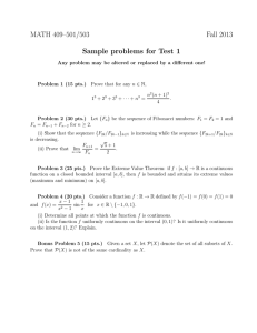 MATH 409–501/503 Fall 2013 Sample problems for Test 1