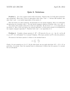 MATH 423–200/500 April 20, 2012 Quiz 2: Solutions