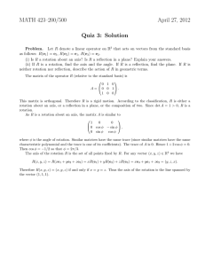 MATH 423–200/500 April 27, 2012 Quiz 3: Solution