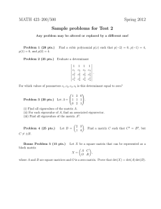 MATH 423–200/500 Spring 2012 Sample problems for Test 2