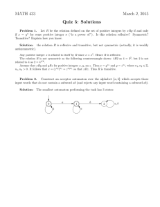 MATH 433 March 2, 2015 Quiz 5: Solutions