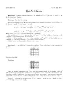 MATH 433 March 13, 2015 Quiz 7: Solutions