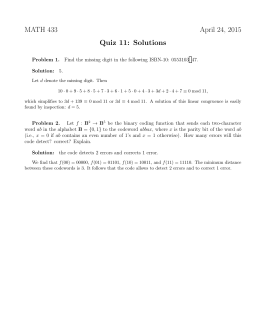 MATH 433 April 24, 2015 Quiz 11: Solutions