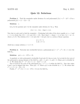 MATH 433 May 4, 2015 Quiz 12: Solutions