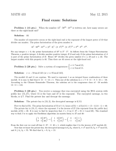 MATH 433 May 12, 2015 Final exam: Solutions