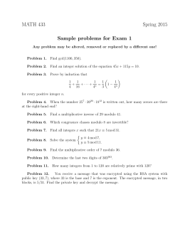 MATH 433 Spring 2015 Sample problems for Exam 1