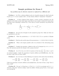 MATH 433 Spring 2015 Sample problems for Exam 2