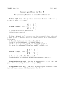MATH 304–504 Fall 2007 Sample problems for Test 1