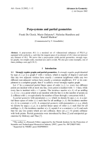 Perp-systems and partial geometries Rudolf Mathon Advances in Geometry