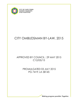 CITY OMBUDSMAN BY-LAW, 2015 APPROVED BY COUNCIL : 29 MAY 2015 C12/05/15
