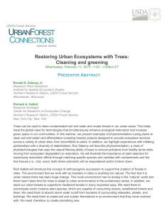 Restoring Urban Ecosystems with Trees: Cleaning and greening P