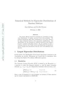 Numerical Methods for Eigenvalue Distributions of Random Matrices February 3, 2008