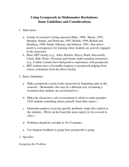 Using Groupwork in Mathematics Recitations: Some Guidelines and Considerations