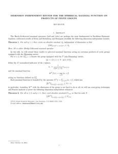 DIMENSION INDEPENDENT BOUNDS FOR THE SPHERICAL MAXIMAL FUNCTION ON 1. Abstract