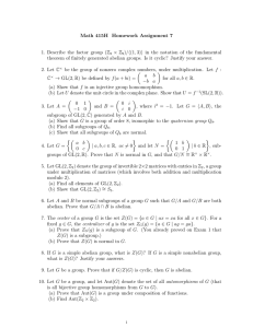 Math 415H Homework Assignment 7 × Z