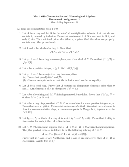 Math 689 Commutative and Homological Algebra Homework Assignment 1