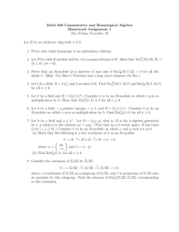 Math 689 Commutative and Homological Algebra Homework Assignment 4