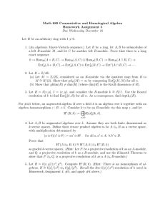 Math 689 Commutative and Homological Algebra Homework Assignment 5