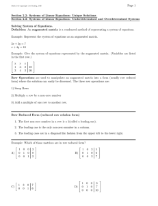 Page 1 Section 2.2: Systems of Linear Equations: Unique Solutions