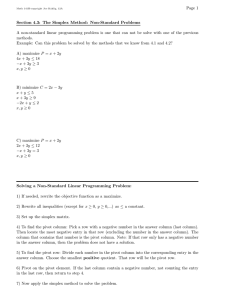 Page 1 Section 4.3: The Simplex Method: Non-Standard Problems
