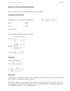 Page 1 Section 2.2: Piecewise Defined Functions