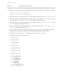 1 Math 172 Sample Questions Exam I