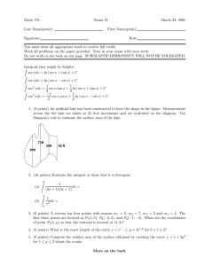 Math 172 Exam II March 22, 2001 Last Name(print):