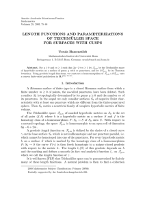 LENGTH FUNCTIONS AND PARAMETERIZATIONS OF TEICHM ¨ ULLER SPACE FOR SURFACES WITH CUSPS
