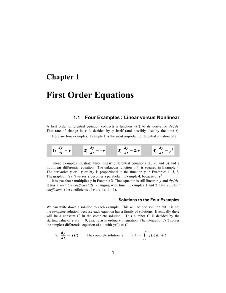 first order equations chapter 1 1.1 four examples : linear versus